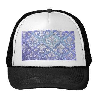 Elegant damask silver white blue indigo victorian cap