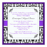 Elegant Damask Swirl Invite [Purple] 13 Cm X 13 Cm Square Invitation Card