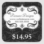 Elegant Damask Swirls Price Tag Square Sticker