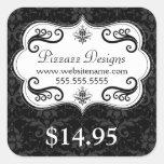Elegant Damask Swirls Price Tag Square Stickers