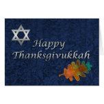 Elegant Damask Thanksgivukkah Custom Greeting Cards