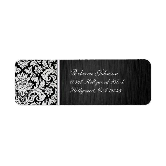 Elegant Damask Vintage Black and White Return Address Label