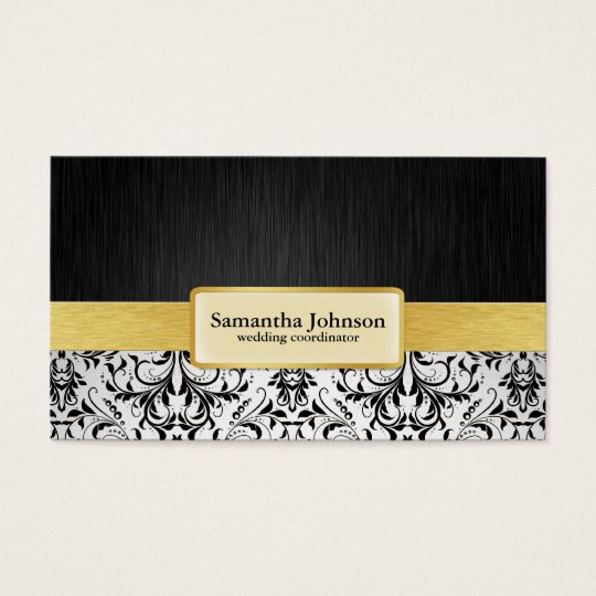 Elegant Damask Wedding Coordinator Business Cards