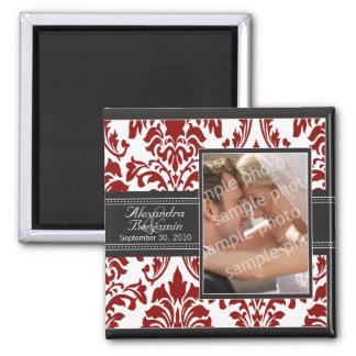 Elegant Damask Wedding Favor Magnet: red/black Square Magnet