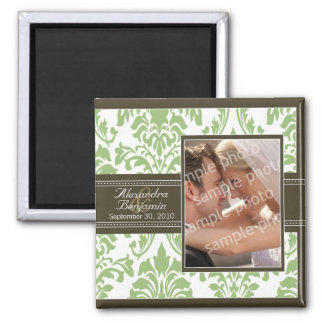 Elegant Damask Wedding Favor Magnet: sage/brown Square Magnet