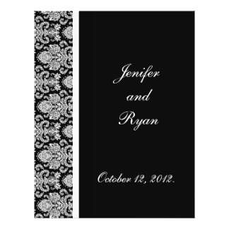 elegant damask wedding menu 21.5 cm x 28 cm flyer