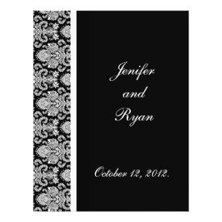 elegant damask wedding menu 21.5 cm x 28 cm flyer