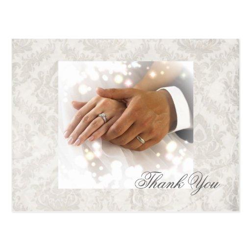 elegant damask wedding planner business postcard