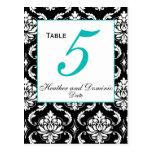 Elegant Damask Wedding Table Number Card 1
