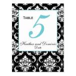 Elegant Damask Wedding Table Number Card 3