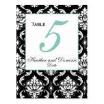 Elegant Damask Wedding Table Number Card 4