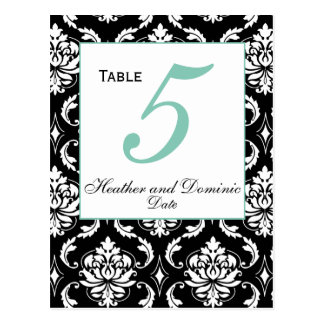 Elegant Damask Wedding Table Number Card 4 Postcard