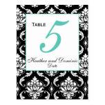 Elegant Damask Wedding Table Number Card 5