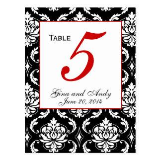 Elegant Damask Wedding Table Number Card Postcards
