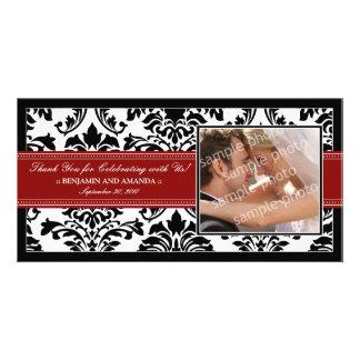Elegant Damask Wedding Thank You Photocard red Photo Greeting Card