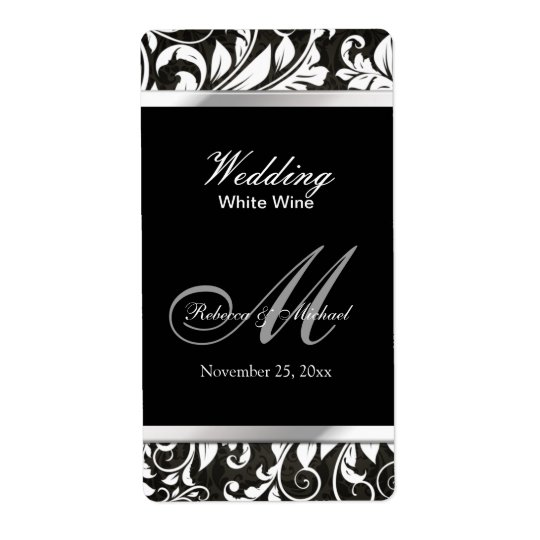 Elegant Damask Wedding Wine Labels