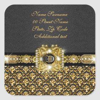 "Elegant damask ""we've moved"" ""new address"" square sticker"