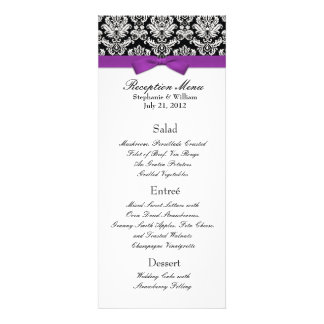 Elegant Damask with Purple Bow Reception Menu Personalized Invitations