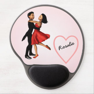 Elegant Dancers: Red Silk Dress (Personalized) Gel Mouse Mat