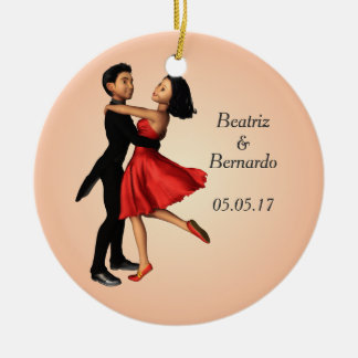 Elegant Dancers: Red Silk Dress (Personalized) Round Ceramic Decoration