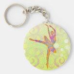 Elegant Dancing Ballerina Basic Round Button Key Ring