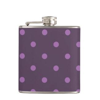 elegant dark and light purple polka dots hip flask