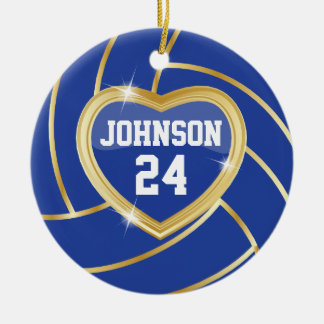 Elegant Dark Blue and Gold Volleyball Christmas Ornament
