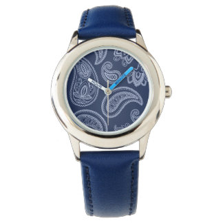 Elegant dark blue paisley pattern watch