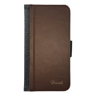 Elegant Dark Brown Leather Look with Custom Text Samsung Galaxy S6 Wallet Case