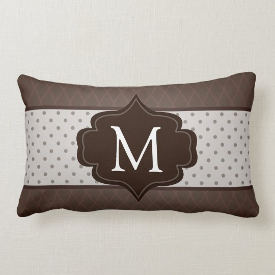 Elegant Dark Brown Polka Dot Custom Monogram Lumbar