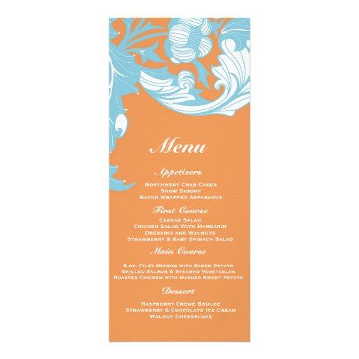 Elegant Dark & Classy Florals - Burnt Orange, Blue Custom Invites