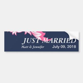 Elegant Dark & Classy Florals - Dark Blue, Pink Bumper Sticker