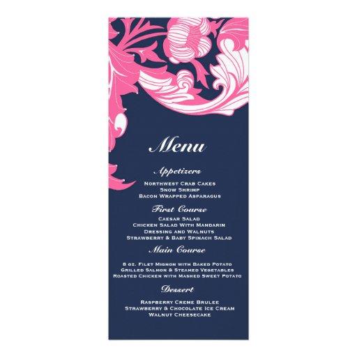 Elegant Dark & Classy Florals - Dark Blue, Pink Invitations