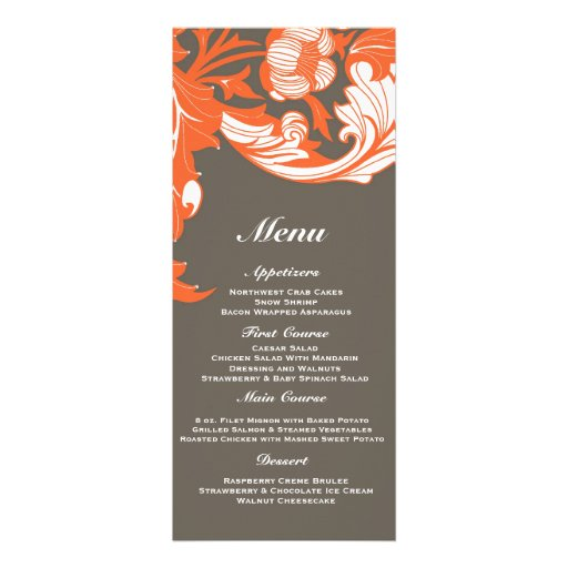 Elegant Dark & Classy Florals - Dark Gray, Orange Personalized Announcement