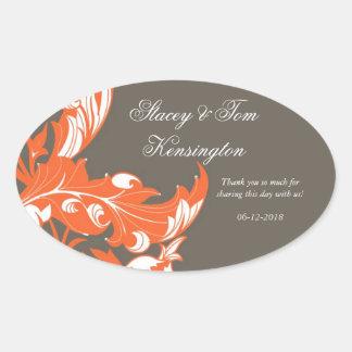 Elegant Dark & Classy Florals - Dark Gray, Orange Oval Sticker