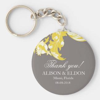 Elegant Dark & Classy Florals - Dark Gray, Yellow Key Chain