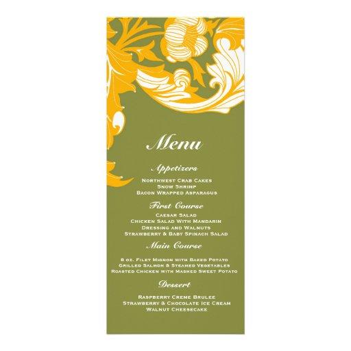 Elegant Dark & Classy Florals - Moss Green, Orange Personalized Invite