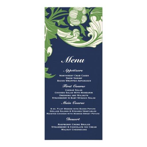 Elegant Dark & Classy Florals - Navy Blue, Green Custom Invite