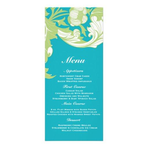 Elegant Dark & Classy Florals - Sky Blue, Green Personalized Invites