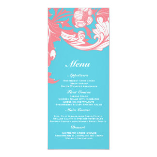 Elegant Dark & Classy Florals - Sky Blue, Pink Personalized Announcement