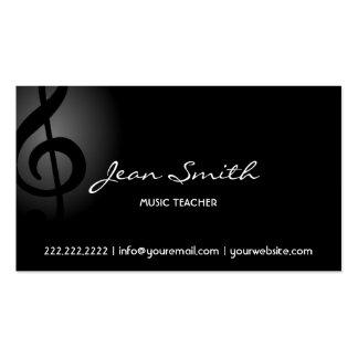 Elegant Dark Clef Music Teacher Business Card