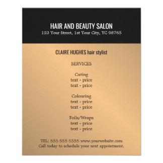 Elegant Dark Faux Gold Black Beauty Salon 11.5 Cm X 14 Cm Flyer