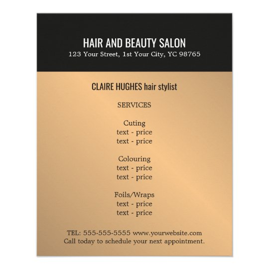 Elegant Dark Faux Gold Black Beauty Salon Flyer