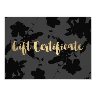 Elegant Dark Gray/Black Floral Gift Certificate 11 Cm X 16 Cm Invitation Card