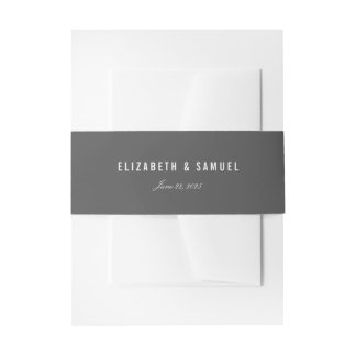 Elegant Dark Grey Simple Wedding Belly Bands Invitation Belly Band