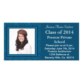 Elegant Dark & Light Blue Damask Graduate Photo Photo Greeting Card