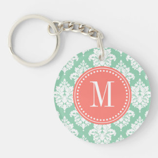 Elegant Dark Mint Damask Personalized Single-Sided Round Acrylic Key Ring