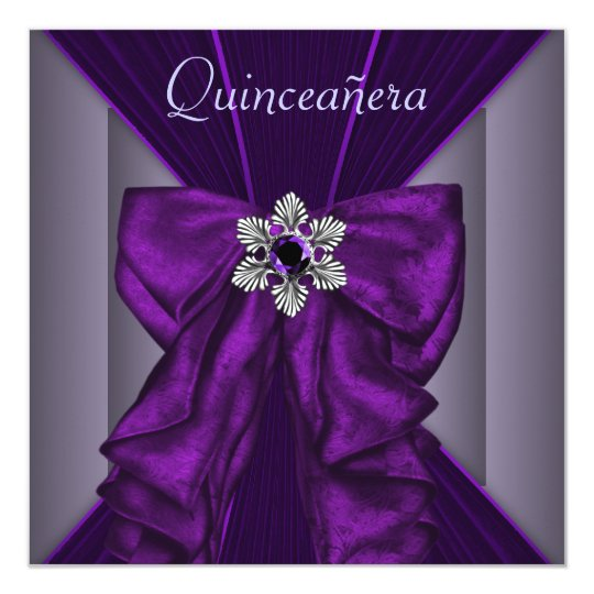 Elegant Dark Purple Quinceanera Party Card