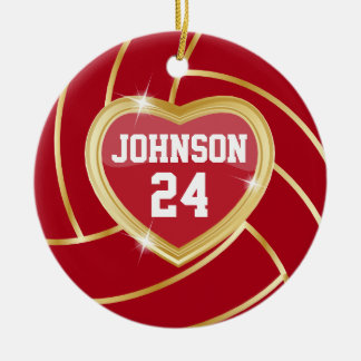 Elegant Dark Red and Gold Volleyball Ornaments