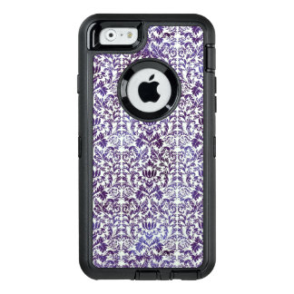 Elegant Dark Royal Purple Damask Batik OtterBox Defender iPhone Case